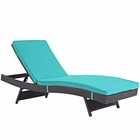 Modway Convene Outdoor Patio Wicker Rattan Chaise in Espresso Turquoise MY-EEI-2179-EXP-TRQ