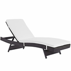 Modway Convene Outdoor Patio Wicker Rattan Chaise in Espresso White MY-EEI-2179-EXP-WHI