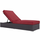 Modway Convene Outdoor Patio Wicker Rattan Chaise Lounge in Espresso Red MY-EEI-1846-EXP-RED
