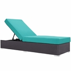 Modway Convene Outdoor Patio Wicker Rattan Chaise Lounge in Espresso Turquoise MY-EEI-1846-EXP-TRQ
