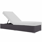 Modway Convene Outdoor Patio Wicker Rattan Chaise Lounge in Espresso White MY-EEI-1846-EXP-WHI