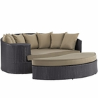 Modway Convene Outdoor Patio Wicker Rattan Daybed in Espresso Mocha MY-EEI-2176-EXP-MOC