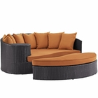 Modway Convene Outdoor Patio Wicker Rattan Daybed in Espresso Orange MY-EEI-2176-EXP-ORA