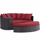 Modway Convene Outdoor Patio Wicker Rattan Daybed in Espresso Red MY-EEI-2176-EXP-RED