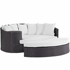 Modway Convene Outdoor Patio Wicker Rattan Daybed in Espresso White MY-EEI-2176-EXP-WHI