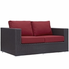 Modway Convene Outdoor Patio Wicker Rattan Loveseat in Espresso Red MY-EEI-1907-EXP-RED