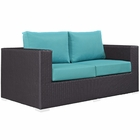 Modway Convene Outdoor Patio Wicker Rattan Loveseat in Espresso Turquoise MY-EEI-1907-EXP-TRQ