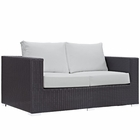 Modway Convene Outdoor Patio Wicker Rattan Loveseat in Espresso White MY-EEI-1907-EXP-WHI