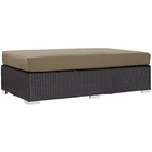 Modway Convene Outdoor Patio Wicker Rattan Rectangle Ottoman in Espresso Mocha MY-EEI-1847-EXP-MOC