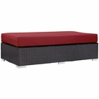 Modway Convene Outdoor Patio Wicker Rattan Rectangle Ottoman in Espresso Red MY-EEI-1847-EXP-RED