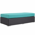 Modway Convene Outdoor Patio Wicker Rattan Rectangle Ottoman in Espresso Turquoise MY-EEI-1847-EXP-TRQ