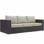 Modway Convene Outdoor Patio Wicker Rattan Sofa in Espresso Beige MY-EEI-1844-EXP-BEI