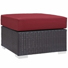 Modway Convene Outdoor Patio Wicker Rattan Square Ottoman in Espresso Red MY-EEI-1911-EXP-RED