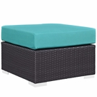 Modway Convene Outdoor Patio Wicker Rattan Square Ottoman in Espresso Turquoise MY-EEI-1911-EXP-TRQ