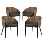 Modway Cooper Dining Chairs Wood Set of 4 in Walnut MY-EEI-1683-WAL