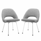 Modway Cordelia Dining Chairs Upholstered Fabric Set of 2 in Light Gray MY-EEI-1684-LGR