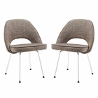 Modway Cordelia Dining Chairs Upholstered Fabric Set of 2 in Oat MY-EEI-1684-OAT