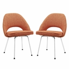 Modway Cordelia Dining Chairs Upholstered Fabric Set of 2 in Orange MY-EEI-1684-ORA