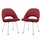 Modway Cordelia Dining Chairs Upholstered Fabric Set of 2 in Red MY-EEI-1684-RED