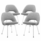 Modway Cordelia Dining Chairs Upholstered Fabric Set of 4 in Light Gray MY-EEI-1685-LGR