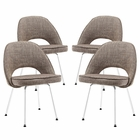 Modway Cordelia Dining Chairs Upholstered Fabric Set of 4 in Oat MY-EEI-1685-OAT