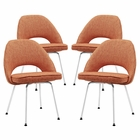 Modway Cordelia Dining Chairs Upholstered Fabric Set of 4 in Orange MY-EEI-1685-ORA