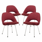 Modway Cordelia Dining Chairs Upholstered Fabric Set of 4 in Red MY-EEI-1685-RED