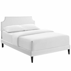 Modway Corene King Faux Leather Platform Bed with Squared Tapered Legs in White MY-MOD-5956-WHI