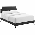 Modway Corene Queen Faux Leather Platform Bed with Round Splayed Legs in Black MY-MOD-5946-BLK