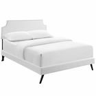 Modway Corene Queen Faux Leather Platform Bed with Round Splayed Legs in White MY-MOD-5946-WHI