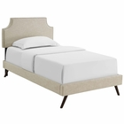 Modway Corene Twin Upholstered Fabric Platform Bed with Round Splayed Legs in Beige MY-MOD-5943-BEI