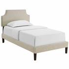 Modway Corene Twin Upholstered Fabric Platform Bed with Squared Tapered Legs in Beige MY-MOD-5951-BEI
