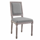 Modway Court Vintage French Upholstered Fabric Dining Side Chair in Light Gray MY-EEI-2682-LGR