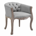 Modway Crown Vintage French Upholstered Fabric Dining Armchair in Light Gray MY-EEI-2793-LGR