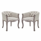 Modway Crown Vintage French Upholstered Fabric Dining Armchair Set of 2 in Beige MY-EEI-3104-BEI-SET