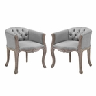 Modway Crown Vintage French Upholstered Fabric Dining Armchair Set of 2 in Light Gray MY-EEI-3104-LGR-SET