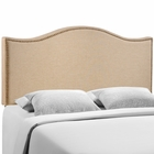Modway Curl Queen Nailhead Upholstered Fabric Headboard in Cafe MY-MOD-5206-CAF