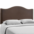 Modway Curl Queen Nailhead Upholstered Fabric Headboard in Dark Brown MY-MOD-5206-DBR