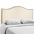 Modway Curl Queen Nailhead Upholstered Fabric Headboard in Ivory MY-MOD-5206-IVO