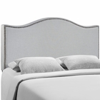 Modway Curl Queen Nailhead Upholstered Fabric Headboard in Sky Gray MY-MOD-5206-GRY