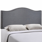 Modway Curl Queen Nailhead Upholstered Fabric Headboard in Smoke MY-MOD-5206-SMK