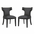 Modway Curve Dining Side Chairs Faux Leather Set of 2 in Black MY-EEI-2740-BLK-SET