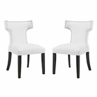 Modway Curve Dining Side Chairs Faux Leather Set of 2 in White MY-EEI-2740-WHI-SET