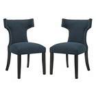 Modway Curve Dining Side Chairs Upholstered Fabric Set of 2 in Azure MY-EEI-2741-AZU-SET