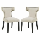 Modway Curve Dining Side Chairs Upholstered Fabric Set of 2 in Beige MY-EEI-2741-BEI-SET