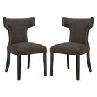 Modway Curve Dining Side Chairs Upholstered Fabric Set of 2 in Brown MY-EEI-2741-BRN-SET