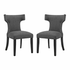 Modway Curve Dining Side Chairs Upholstered Fabric Set of 2 in Gray MY-EEI-2741-GRY-SET