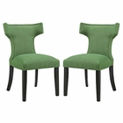 Modway Curve Dining Side Chairs Upholstered Fabric Set of 2 in Kelly Green MY-EEI-2741-GRN-SET