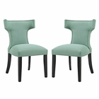 Modway Curve Dining Side Chairs Upholstered Fabric Set of 2 in Laguna MY-EEI-2741-LAG-SET