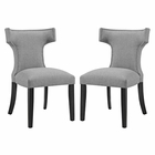Modway Curve Dining Side Chairs Upholstered Fabric Set of 2 in Light Gray MY-EEI-2741-LGR-SET